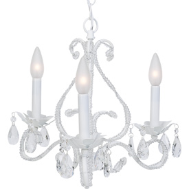 White Beaded Crystal Chandelier