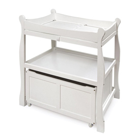 Sleigh Style Changing Table with Lower Storage Bin