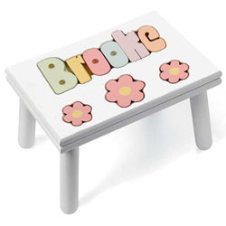 Personalized Daisy Puzzle Stool