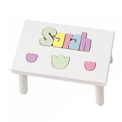Personalized Tulip Puzzle Stool