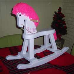 Personalized Bright Pink Rocking Horse