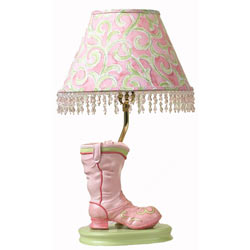 Pink and Green Boot Lamp