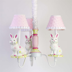 Pink and Lime Polka Dots Bunny Chandelier