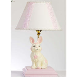 Ivory and Pink Polka Dot Bunny Lamp