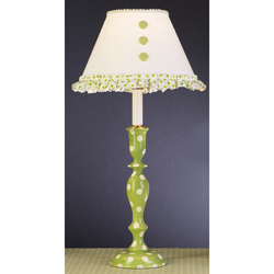 Green 'n Ivory Polka Dot Lamp