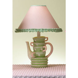 Pink and Green Stacked Teacups Lamp