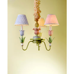 Pink, Blue and Yellow Tulip Chandelier