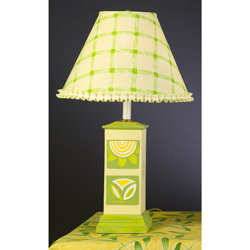 Yellow and Green Mod Flower Square Column Lamp