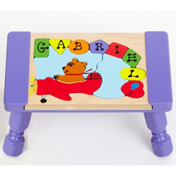 Personalized Bear Plane Puzzle Stool
