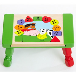 Personalized Farm Animals Puzzle Stool