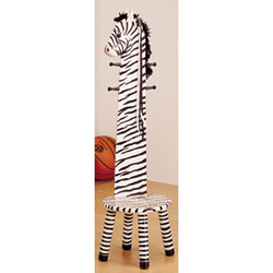 Zebra Stool with Coat Stand