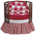 Bright Red Patchwork Round Crib Bedding