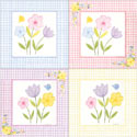 Gingham Flowers Print, Wall Art Collection | Wall Art Sets | ABaby.com