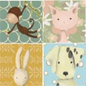 Animal Babies Stretched Art, Wall Art Collection | Wall Art Sets | ABaby.com