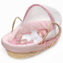 Pink Polka Dot Moses Basket, Moses Basket for Newborn | Wicker Basket Bassinet | aBaby.com