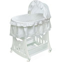 White Ruffled Bassinet with Toy Box Base, Baby Bassinet Bedding sets, Bassinet Skirts, Bassinet Liners, and Hoods