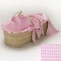 Gingham Moses Basket, Baby Baskets For Girls | Girls Moses Baskets | ABaby.com