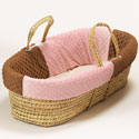 Minky Dot Moses Basket, Baby Baskets For Girls | Girls Moses Baskets | ABaby.com