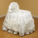 Satin Frill Bassinet, Baby Bassinet Bedding sets, Bassinet Skirts, Bassinet Liners, and Hoods