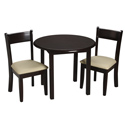 Childrens Round Table and Upholstered Seat Chair Set, Kids Table & Chair Sets | Toddler Tables | Desk | Wooden