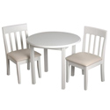 Childrens Round Table and Upholstered Slat Chair Set, Kids Table & Chair Sets | Toddler Tables | Desk | Wooden
