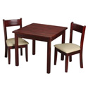 Childrens Square Table and Upholstered Seat Chair Set, Kids Table & Chair Sets | Toddler Tables | Desk | Wooden