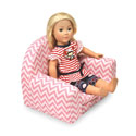 Upholstered Doll Chair with Foldout Bed