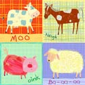 Farm Animal Stretched Art, Kids Wall Art | Neutral Wall Decor | Kids Art Work | ABaby.com
