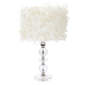 Feathered Shade Crystal Tower Lamp