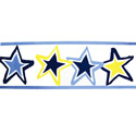 Blue Stars Wallpaper Border, Moon and Stars Nursery Decor | Moon and Stars Wall Decals | ABaby.com