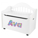 Personalized Limited Edition White Toy Box, Personalized Wooden Toy Boxes For Girls & Boys