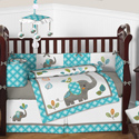 Mod Elephant Crib Bedding Collection, Baby Girl Crib Bedding Sets | Crib Accessories | Unique | aBaby.com