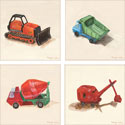 Construction Stretched Art, Train And Cars Artwork | Train And Cars Wall Art | ABaby.com