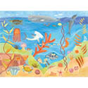 Ocean World Stretched Art, Kids Nursery Canvas Wall Art - Ababy.Com