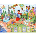 Postcard From Paris Stretched Art, Kids Wall Art | Neutral Wall Decor | Kids Art Work | ABaby.com