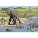 African Safari Stretched Art, Kids Wall Art | Neutral Wall Decor | Kids Art Work | ABaby.com
