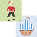 Pirate Collage Stretched Art, Pirates Themed Nursery | Pirates Bedding | ABaby.com