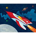 Rocket Man Stretched Art, Airplane Themed Nursery | Airplane Bedding | ABaby.com