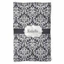 Personalized Natalie Dark Grey Damask  Fleece Blanket