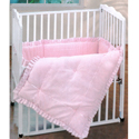 Pink Pique Porta Crib Set, Portable Mini Crib Bedding Sets For Your Baby