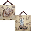 Western Hat & Boot Artwork, Hand Painted Artwork | Hand-Painted Wall Art | ABaby.com