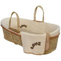 Organic Love Embroidered Moses Basket, Baby Baskets For Girls | Girls Moses Baskets | ABaby.com