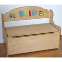 Natural Deacon Toy Bench, Kids Toy Boxes | Personalized Toy Chest | Bench | ABaby.com
