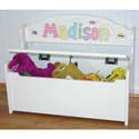 Gloss White Deacon Toy Bench, Kids Storage Bins | Personalized Kids Toy Boxes | ABaby.com