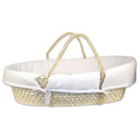 Moses Basket with White Pique Bumper, Neutral Baby Baskets | Newborn Moses Basket | ABaby.com