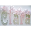 Clara's Pink and Green Glitter Wall Letters, Girls Wall Letters | Kids Wall Letters For Nursery | ABaby.com