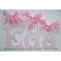 Eda's Pink Stripes Glitter Wall Letters, Girls Wall Letters | Kids Wall Letters For Nursery | ABaby.com