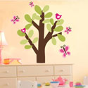Spring Tree Birds and Butterflies Wall Decal, Personalized Nursery Decor | Baby Room Decor | ABaby.com