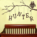 Personalized Owl on Branch-Boy, Peel & Stick Wall Decals | Vinyl Wall Decal | ABaby.com