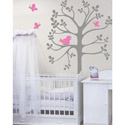 Spring Tree Birds and Butterflies Wall Decal